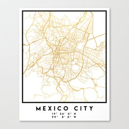MEXICO CITY MEXICO CITY STREET MAP ART Canvas Print
