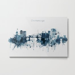 Blue Chattanooga skyline design Metal Print