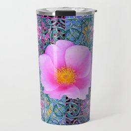 AQUA PINK ROSES & ORCHIDS GREEN-BLACK ART Travel Mug