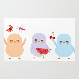 Kawaii blue green orange pink yellow chick with pink cheeks and winking eyes, pastel colors Rug