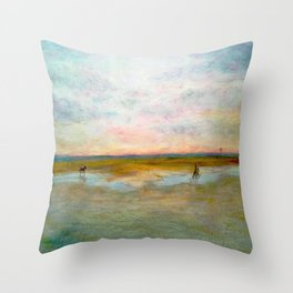 Hayling Beach Horses Throw Pillow