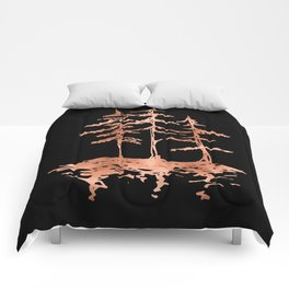 THE THREE SISTERS Trees Rose Gold Comforters