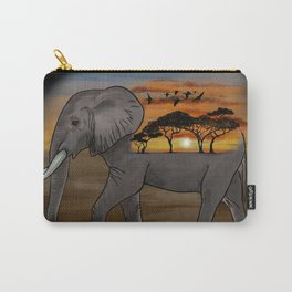 African Elephant, African Sunset, Black Background Carry-All Pouch