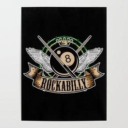 Rock n Roll Pool Billiards 8 Ball Rockabilly Poster