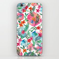 Whimsical Hexagon Garden on white iPhone & iPod Skin