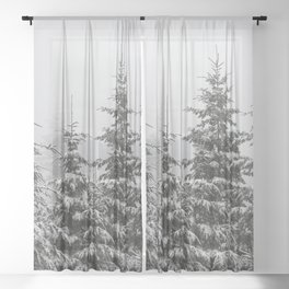Winter Forest Fir Tree Snow II - Nature Photography Sheer Curtain