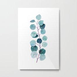 Watercolor Handpainted Eucalyptus Branch, Blue Silver Dollar Eucalyptus Metal Print