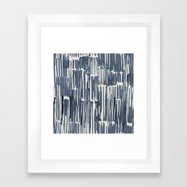 Simply Bamboo Brushstroke Indigo Blue on Lunar Gray Framed Art Print