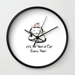 Cat Kagami Mochi Wall Clock