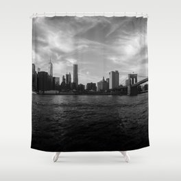 New York Skyline - Black & White Shower Curtain