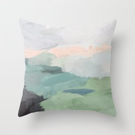 Seafoam Green Mint Black Blush Pink Abstract Nature Land Art Painting Throw Pillow