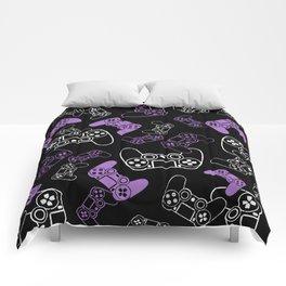 Video Games Lavender on Black Comforters