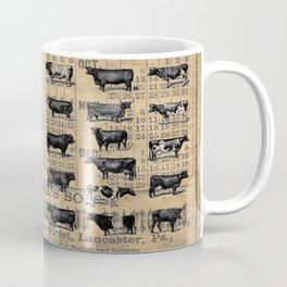 Vintage 1896 Cows Study on Antique Lancaster County Almanac Coffee Mug