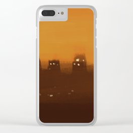 Cityscape at sunset buildings mist smog lights illustration Clear iPhone Case
