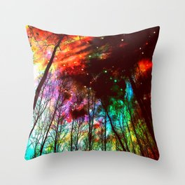 Black Trees Haunting Space Throw Pillow
