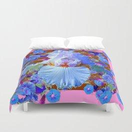 PASTEL IRIS & BLUE MORNING GLORIES PINK PATTERNS Duvet Cover