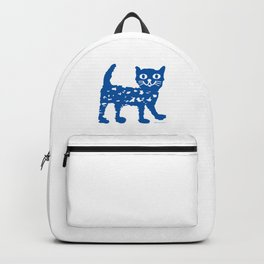 Navy blue cat pattern Backpack