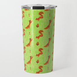 Red Squirrel Pattern Travel Mug