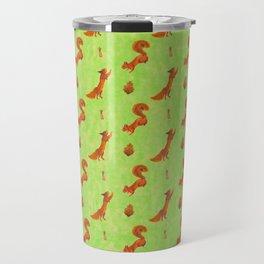 Red Squirrel Pattern Travel Mug