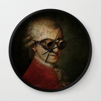 mozart Wall Clocks featuring Funny Steampunk Mozart by Paul Stickland for StrangeStore