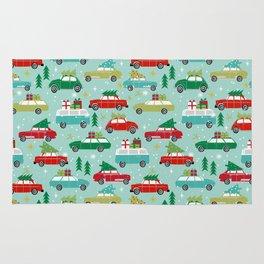 Christmas car tradition christmas trees holiday pattern winter festive Rug