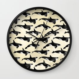 Pod of Orcas in Puget Wall Clock
