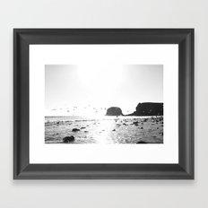 black and white big sur Framed Art Print