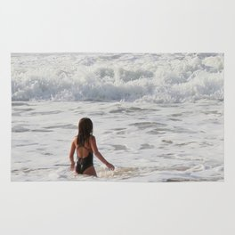 Breaking wave and girl Rug