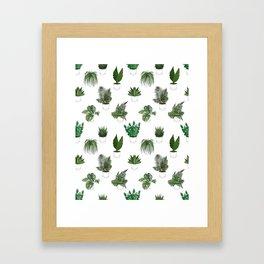 Houseplants Illustration (white background) Framed Art Print