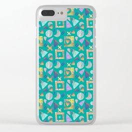 Geometric collage - turquoise Clear iPhone Case