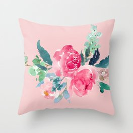 Rose Quartz Pink Peony Throw Pillow