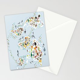 Cartoon animal world map for children and kids, Animals from all over the world Stationery Cards