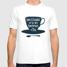 Love & Scandal are the Best Sweeteners of Tea Mens Fitted Tee SMALL White