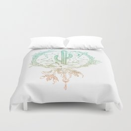 Desert Cactus Dreamcatcher Turquoise Coral Gradient on White Duvet Cover