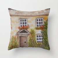 college Throw Pillows featuring Christ College by Natillustratecreate