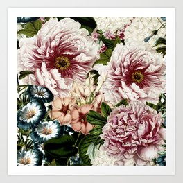 Vintage Peony and Ipomea Pattern - Smelling Dreams Art Print