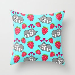 Cute funny sweet adorable sleeping baby raccoons, little pink hearts and red ripe summer strawberries cartoon light pastel blue pattern design Throw Pillow
