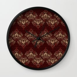 Persian Oriental pattern deep red and gold Wall Clock