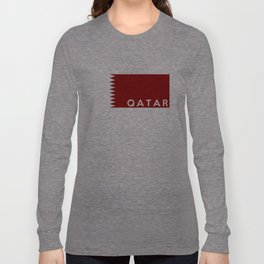 Qatar country flag name text Long Sleeve T-shirt