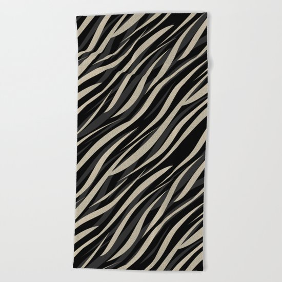 Tiger abstract striped pattern . Beach Towel