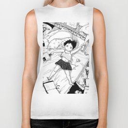 Monochrome Surrealistic Illustration:Hold Your Ankle in My Messy Bedroom Biker Tank