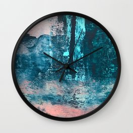 Wishes: an abstract mixed-media piece in blues, pink, and gold Wall Clock