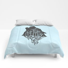 Adventure Wolf - Nature Mountains Wolves Howling Design Black on Turquoise Blue Comforters