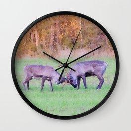 Fighting reindeers watercolor painting  Wall Clock