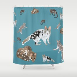Eastern Quoll (Dasyurus viverrinus) on teale Shower Curtain