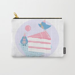 Bluebirds LOVE Birthday Cake Carry-All Pouch