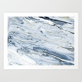 Smoke and Champagne - Marbled Painting in Gray, White, Black, Gold Art Print