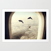 dolphins Art Prints featuring Dolphins by Paula Belle Flores