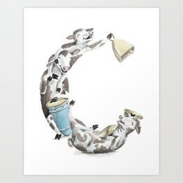 C is for Cows - ABC Laugh-A-Bit Alphabet Animal Letters by Brandie Lee BirdsFlyOver Art Print
