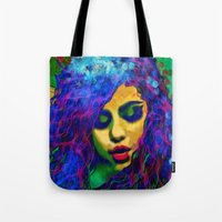 selena gomez Tote Bags featuring Selena (pop) by    Amy Anderson